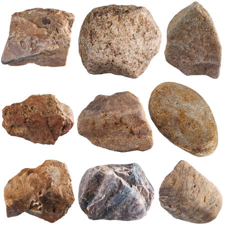 Set of stones isolated on white background. Natural minerals mined in Russia. photo