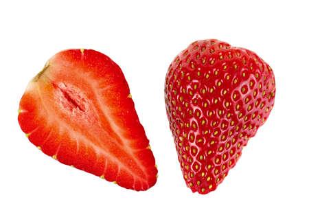strawberry: Ripe sliced strawberry fruit on a white background. isolated