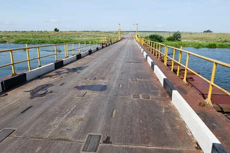 temporary: Temporary river bridge.