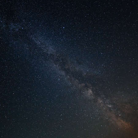 researches: Milky Way Galaxy in the background of the brightest stars of the night sky. Stock Photo