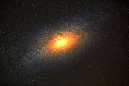 brightest: Brightest galaxy in the background of dark sky with stars Stock Photo