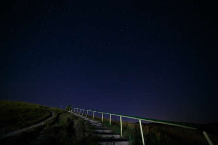 researches: Stairway to hill on the background of night sky