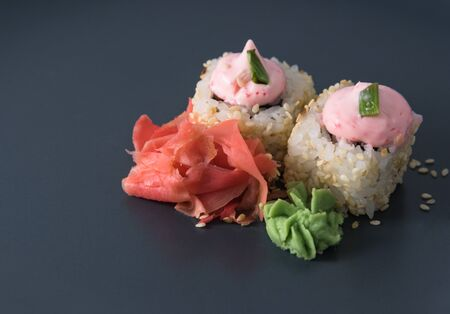 wasabi: Rolls with ginger and wasabi Stock Photo