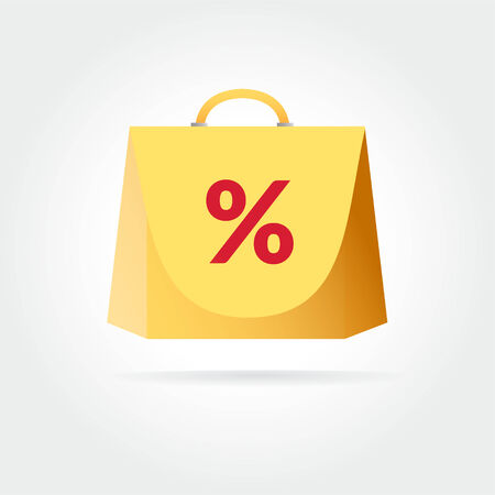 shoping bag: Yellow colored bag icon for shopping