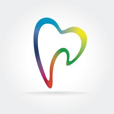 muela: Icono abstracto del diente dentista aisladas sobre fondo blanco