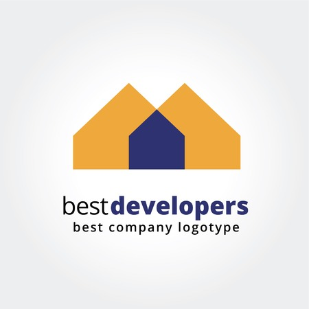 mimari ve binalar: Özet evi logo simge kavramı iş tasarımı için beyaz zemin üzerine izole. Anahtar fikirler iş, emlak, ev, kira, amblem, tasarım. Kurumsal kimlik ve marka konsepti.