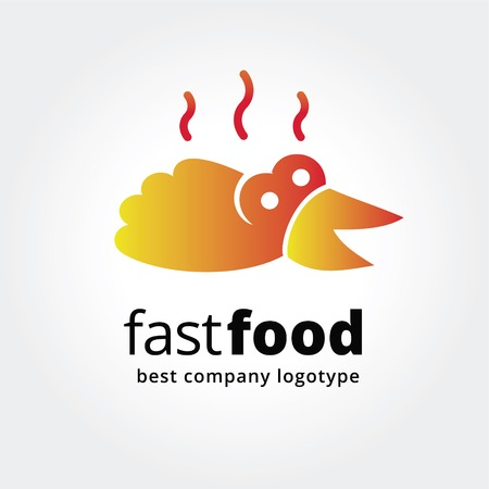 hot chick: Abstract fast food logo icon concept isolated on white background for business design. Key ideas is kitchen, cook, fast  food, cook, design. Concept for corporate identity and branding.