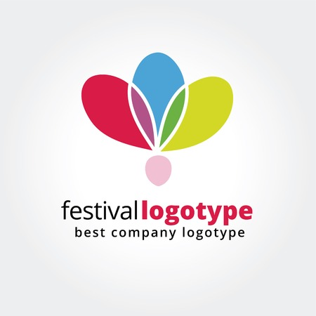 Abstract festival logo icon concept isolated on white background for business design. Key ideas is festival, abstract, dance, butterfly, nature, design. Concept for corporate identity and branding.