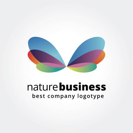 schönheit: Abstrakte Natur Logo Symbol Konzept isoliert auf weißem Hintergrund für Business-Design. Schlüsselideen ist Geschäft, abstrakt, Spa, Schmetterling, Natur, Design. Konzept für Corporate Identity und Branding.