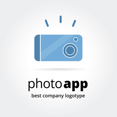 Abstract photo logo icon concept isolated on white background for business design. Key ideas is business, photography, trendy, apps, corporate, design. Concept for corporate identity and branding.  Vector