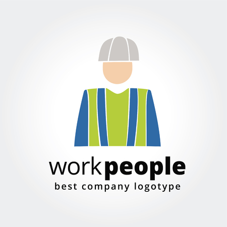 Abstract worker logo icon concept isolated on white background for business design. Key ideas is business, hard work, people in profession, corporate, design. Concept for corporate identity and branding.  Vector