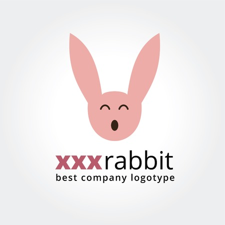 adult sex: Abstract rabbit face logo icon concept isolated on white background for business design. Key ideas is rabbit, toys, pets, creative, corporate, xxx, sex, adult, shop, site. Concept for corporate identity and branding.  Illustration