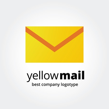 naming: Abstract yellow mail box logo icon concept isolated on white background for business design. Key ideas is business, communication, mail, message, sotial, design. Concept for corporate identity and branding.