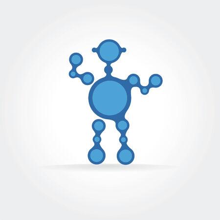 Abstract blue robot icon concept. Vector