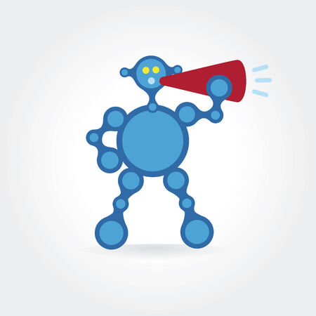 talking robot: Resumen azul robot icono hablar concepto.
