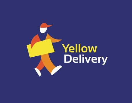 Abstract vector delivery man logo icon concept. Logotype template for branding and corporate design Vector