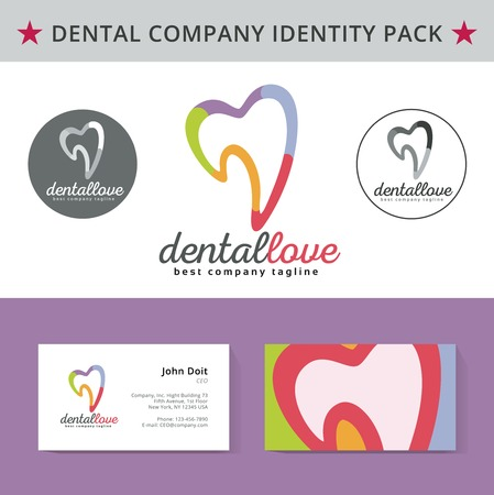 Abstract dentist tooth identity pack vector concept. Vizit cards, and other id blanks.