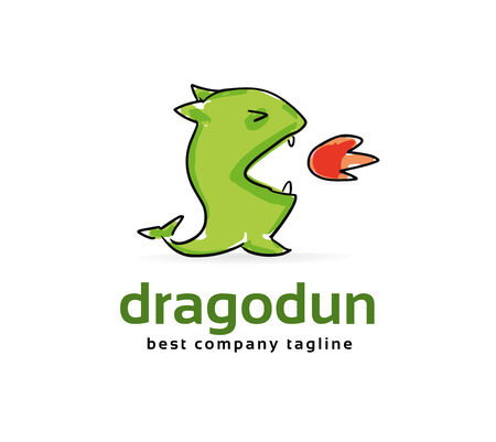 baby dragon: Abstract vector dragon monster logo icon concept. Logotype template for branding and corporate design
