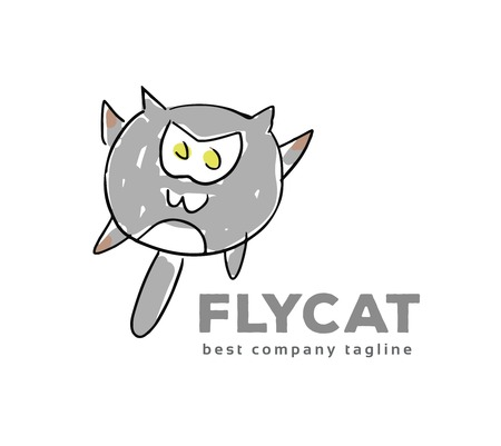 Abstract vector cat monster logo icon concept. Logotype template for branding and corporate design Vector