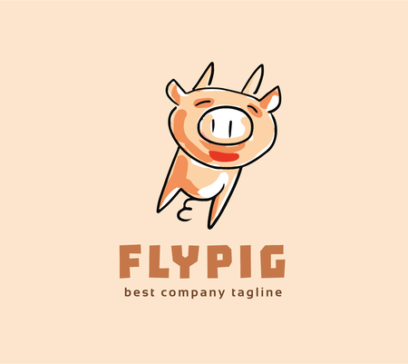 Abstract vector pig monster logo icon concept. Logotype template for branding and corporate design Vector