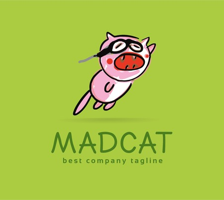 Abstract vector mad cat monster logo icon concept. Logotype template for branding and corporate design Vector