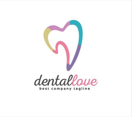 추상 치과 벡터 로고 아이콘 개념입니다. 브랜드 및 기업 디자인, 로고 타입 템플릿 일러스트