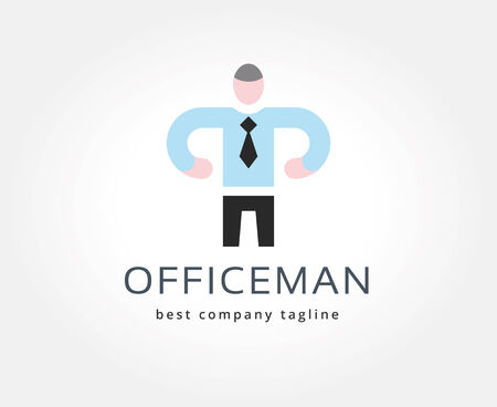 Abstract office man vector logo icon concept. Logotype template for branding and corporate design photo