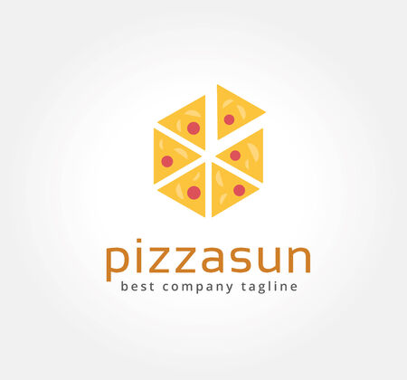 Abstract pizza vector logo icon concept. Logotype template for branding and corporate design photo