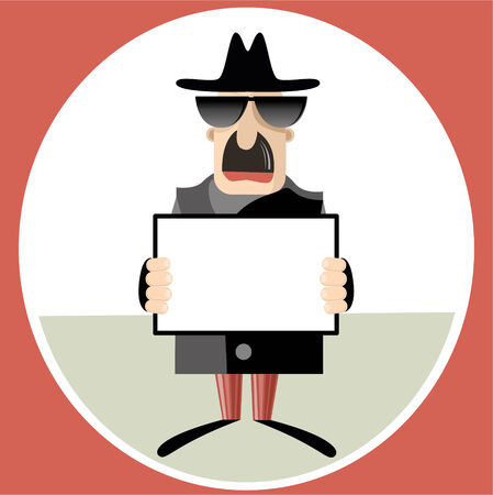 Abstract vector illustration of spy holding paper sheet illustration