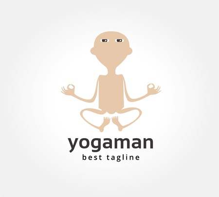 Abstract yoga man vector icon concept. template for branding and corporate design photo
