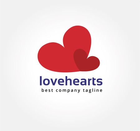 naming: Abstract two hearts vector logo icon concept. Logotype template for branding and corporate design Illustration