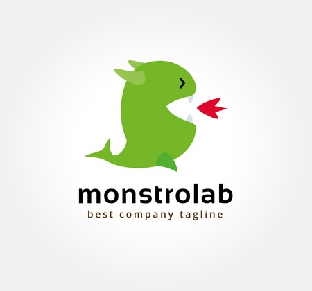 Abstract vector dragon monster logo icon concept. Logotype template for branding and corporate design Vector