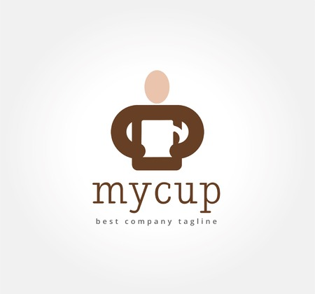 Abstract man with coffe cup vector logo icon concept. Logotype template for branding and corporate design Vector