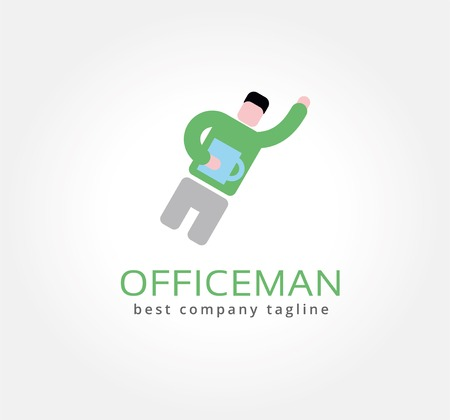 Abstract office man with coffe cup vector logo icon concept. Logotype template for branding and corporate design Vector