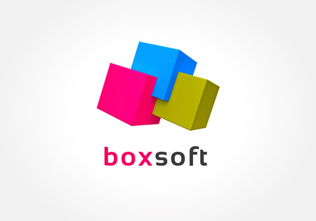 Abstract colored boxes logo icon concept. Logotype template for branding and corporate design photo