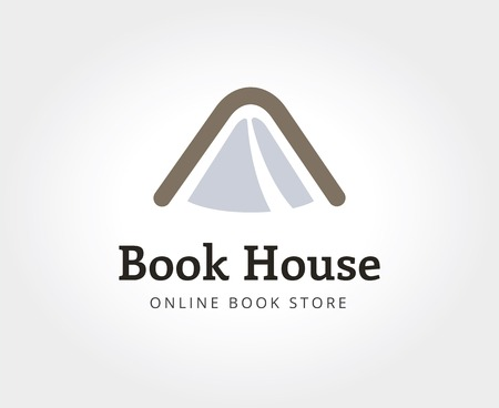 naming: Abstract book house logo template for branding and design