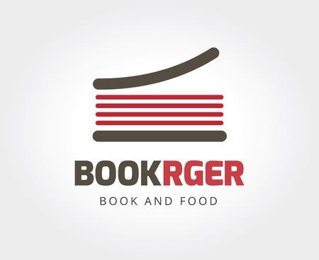 marca libros: Resumen libro hamburguesa plantilla de logotipo para la marca y el dise�o