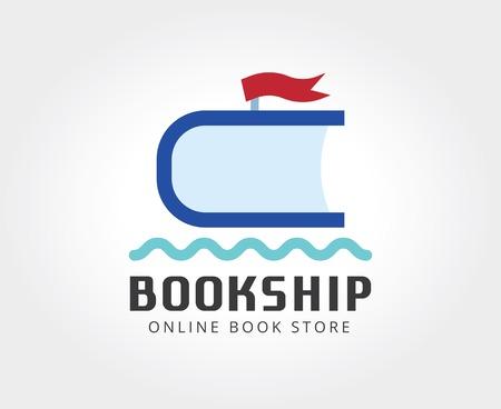 marca libros: Resumen libro nave plantilla de logotipo para la marca y el dise�o Vectores