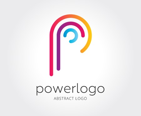 Abstract p character vector logo template for branding and design