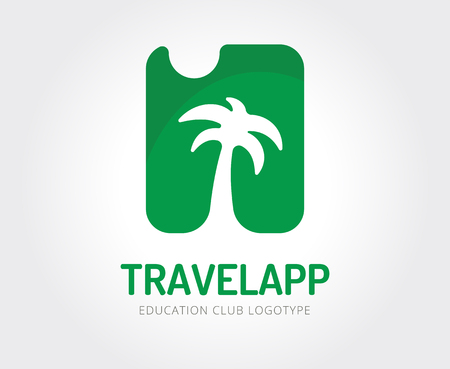 Abstract travel palm vector logo template for branding and design Illustration