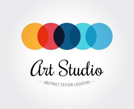 Abstract art studio vector logo template for branding and design