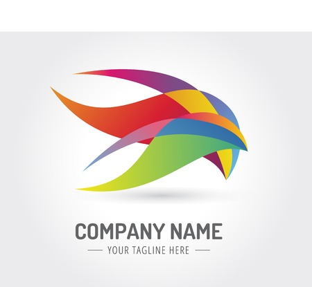 global communication: Abstract bird vector logo template for branding and design