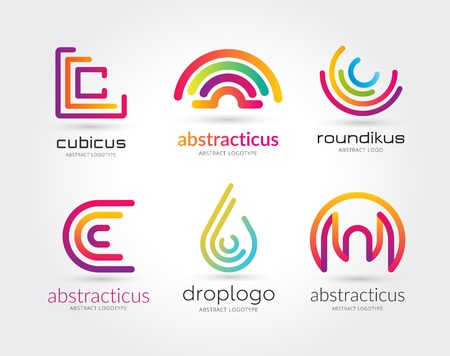 round logo: Abstract vector logo set template for branding and design