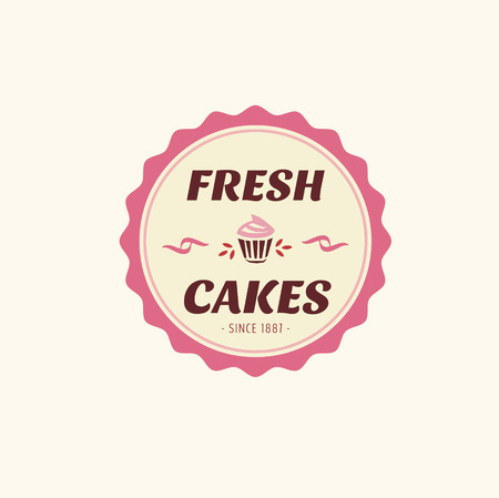 Abstract vector cake vintage logo element. Cakes, bread, bakery. Logo design  イラスト・ベクター素材