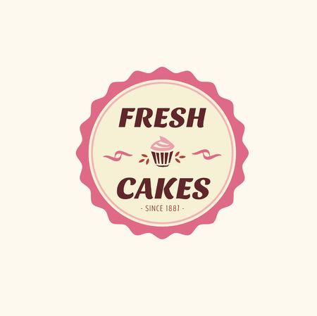 Abstract vector cake vintage logo element. Cakes, bread, bakery. Logo design Vettoriali