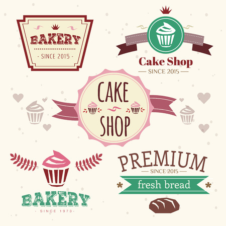 Abstract vector cake vintage logo elements set. Cakes, bread, bakery. Logo design.