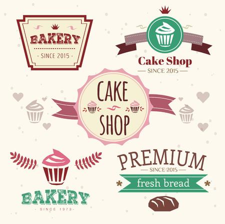 pastel: Torta vectorial Resumen elementos de la insignia de la vendimia fijados. Pasteles, pan, panader�a. Dise�o de logotipo. Vectores