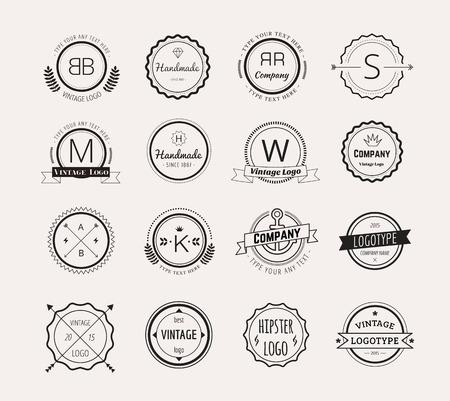 Abstract vector vintage logo design elements set. Arrows, labels, ribbons, symbols. Vector illustration