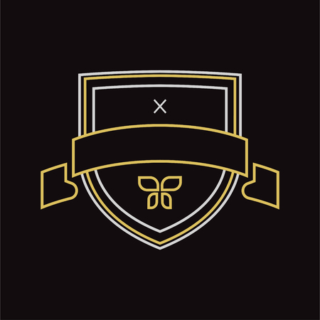 escudo: Vector escudo vendimia elemento de dise�o. Estilo retro vintage. Flechas, etiquetas, cintas, s�mbolos. Ilustraci�n vectorial editable. Vectores