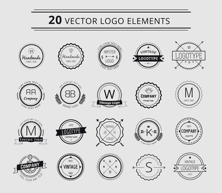 デザイン要素です。ヴィンテージ レトロなスタイル。矢印、ラベル、リボン、シンボル。株式ベクトル イラスト。